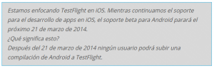 TestFlight Fin Soporte Android