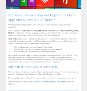 Sobre la charla Microsoft and the role of SDET