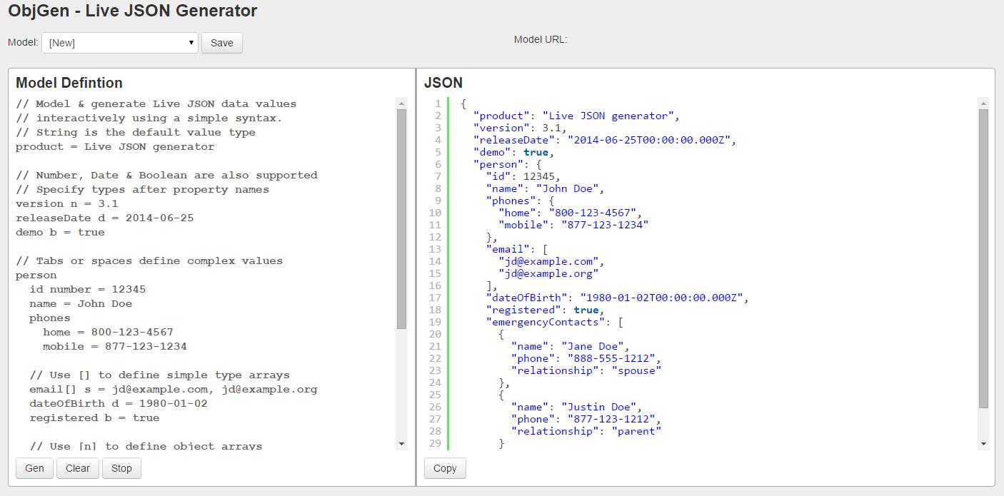 ObjGen - Live JSON Generator