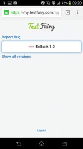 Este es el aspecto de TestFairy antes de instalar nuestra app bajo pruebas