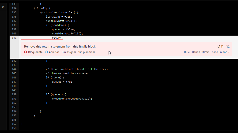 Código visto a través de SonarQube
