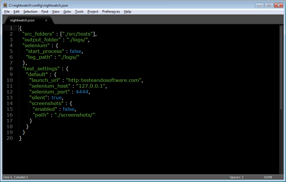 Archivo nightwatch.json abierto con sublime text