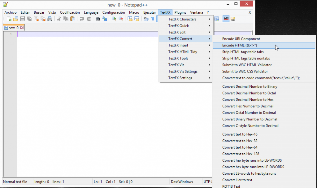 notepad++ HTML Encode