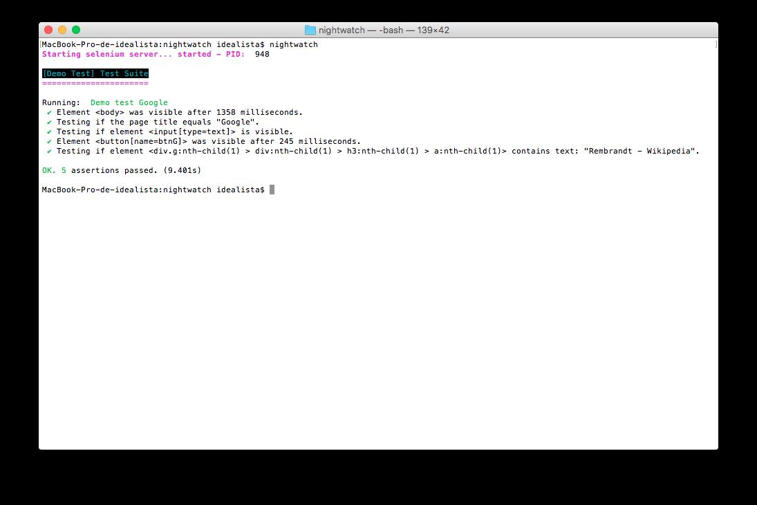 Test lanzados en Mac OS X