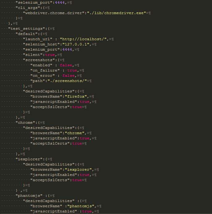 Configuración nightwatch.js más chrome