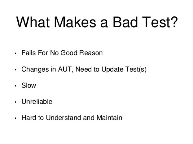 What makes a bad test?