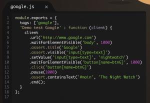 Ejemplo uso Nightwatch.js