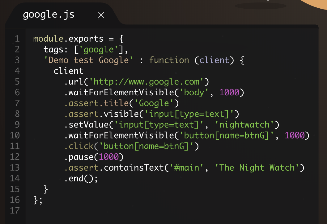 Ejemplo uso Nightwatch.js
