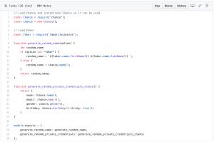 Archivo utils.js con la implementación de Chance y Faker
